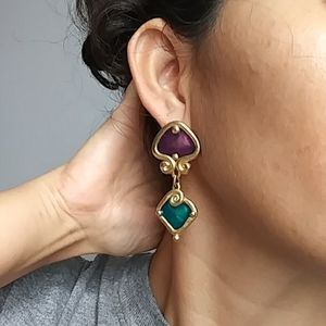 vintage chunky enamel earrings